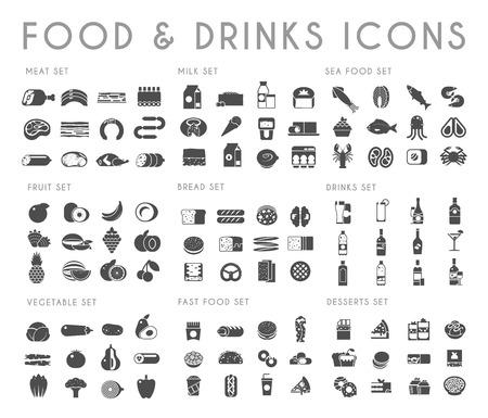 Nourriture et boissons ensemble d'icônes noires. Viande, lait, pain, fruits de mer, fruits, légumes, alcool fast food dessert Banque d'images
