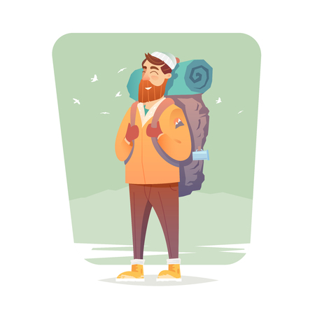 Young man walking alone on a forest trail. Adventure travel. Summer vacation. Around the world. Cartoon style. Vector illustration.