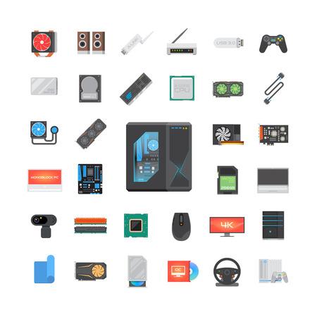 Ensemble d'icônes plat moderne. Composants PC. Magasin d'informatique. Assemblage d'un ordinateur de bureau. Éléments vectoriels.
