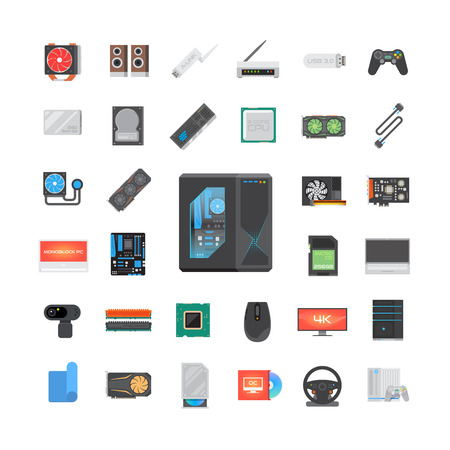 icons: Modern flat icons set. PC components. Computer store. Assembling a Desktop Computer. Vector elements. Illustration