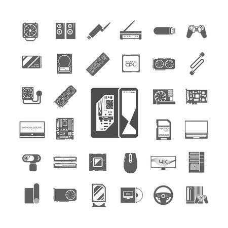 검은 광고 흰색 아이콘을 설정합니다. PC 구성 요소. 컴퓨터 가게. 데스크탑 컴퓨터 조립. 벡터 요소입니다. 일러스트