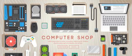 Negozio di computer. Sul tavolo sono presenti diverse parti del computer. Web banner vettore piatto. Vettoriali