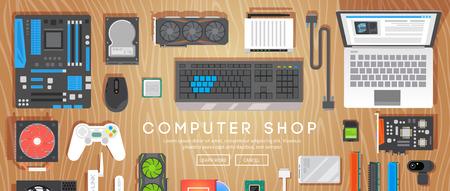 パソコン ショップ。さまざまなコンピューターの部品はテーブルの上です。フラット ベクター バナー。