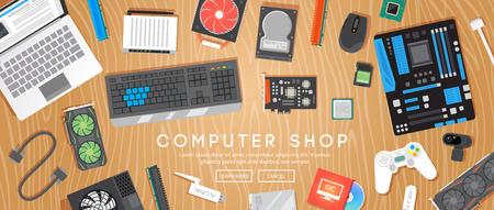 컴퓨터 가게. 다양한 컴퓨터 부품이 테이블에 있습니다. 웹 플랫 벡터 배너입니다.