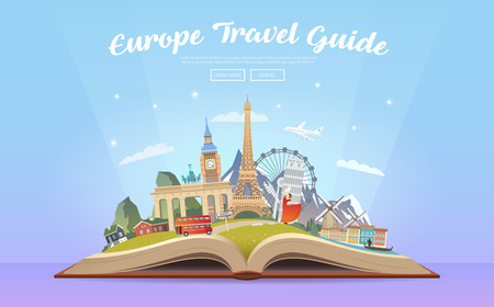 Travel to Europe. Road trip. Tourism. Open book with landmarks. Europe Travel Guide. Advertising web illustration. Summer vacation. Travelling banner. Modern flat design. EPS 10. Фото со стока - 74105577