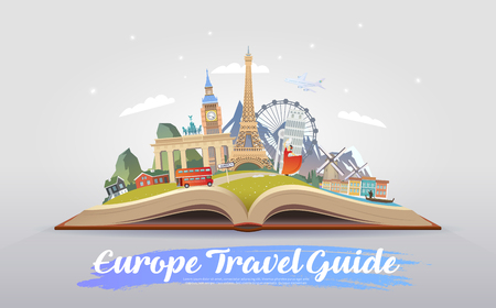 Travel to Europe. Road trip. Tourism. Open book with landmarks. Europe Travel Guide. Advertising web illustration. Summer vacation. Travelling banner. Modern flat design. EPS 10.