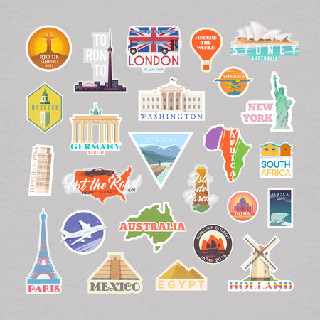 Collection of Vector stickers with famous monuments and landmarks. Travel vector logo set. Flat design. EPS 10. Illustration