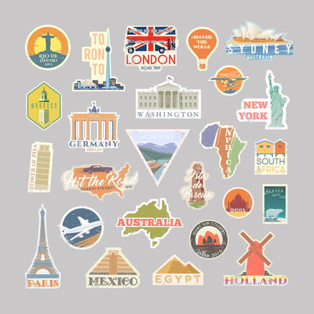 Collection of Vector stickers with famous monuments and landmarks. Travel vector logo set. Retro flat design. EPS 10. Illustration