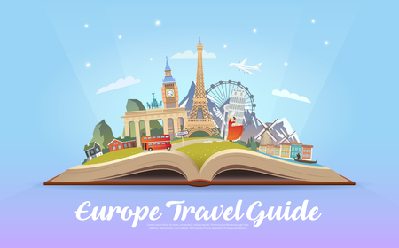 Travel to Europe. Road trip. Tourism. Open book with landmarks. Europe Travel Guide. Advertising web illustration. Summer vacation. Travelling banner. Modern flat design. EPS 10. Фото со стока - 74105878