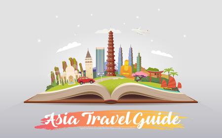 Reis naar Azië. Rondrit. Toerisme. Open boek met bezienswaardigheden. Azië Reisgids. Reclame web illustratie. Zomervakantie. Reizende banner. Modern, plat ontwerp. EPS 10.