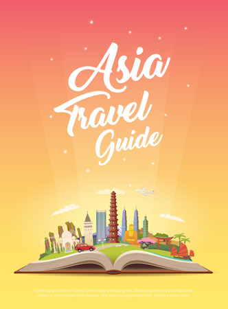 Travel to Asia. Road trip. Tourism. Open book with landmarks. Asia Travel Guide. Advertising web illustration. Summer vacation. Travelling vertical banner. Modern flat design. EPS 10.