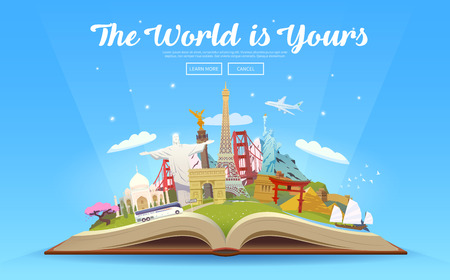 Travel to World. Road trip. Tourism. Open book with landmarks. Travelling vector illustration. The World is Yours. Modern flat design. Ilustracja