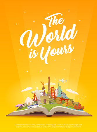 torii: Travel to World. Road trip. Tourism. Open book with landmarks. Travelling vector vertical banner. The World is Yours. Modern flat design.
