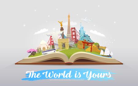 Viaje al mundo Viaje. Turismo. Libro abierto con hitos. Ilustración de vector de viaje. El mundo es tuyo Diseño plano moderno.