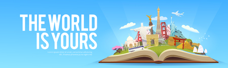 web design bridge: Travel to World. Road trip. Tourism. Open book with landmarks. Travelling vector banner. The World is Yours. Modern flat design.