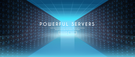 Modern web network and internet telecommunication technology, big data storage and cloud computing computer service business concept. Server room. Vector web banner.