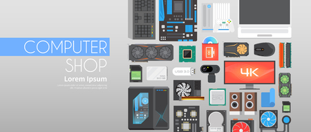 hard component: Web flat vector banner on the theme: assembling a desktop computer, buy computer, computer components.