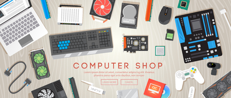 computer: Computer shop. Various computer parts are on the table. Web flat vector banner. Stock Photo