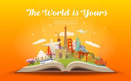 世界への旅行します。道路の旅。観光。ランドマークと開かれた本。ベクトル図を旅行します。世界はあなたのであります。モダンなフラット デザ  イラスト・ベクター素材