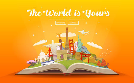 Travel to World. Road trip. Tourism. Open book with landmarks. Travelling vector illustration. The World is Yours. Modern flat design. Vectores