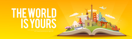 torii: Travel to World. Road trip. Tourism. Open book with landmarks. Travelling vector banner. The World is Yours Modern flat design. Stock Photo