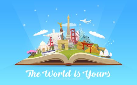 Reisen in die Welt. Offenes Buch mit Sehenswürdigkeiten. Vektorgrafik