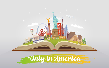 Travel to America. Open book with landmarks.