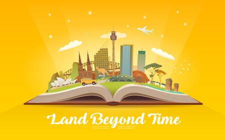 オーストラリアへの旅行します。ランドマークと開かれた本。  イラスト・ベクター素材