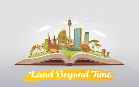 Reizen naar Australië. Open boek met bezienswaardigheden. Vector Illustratie