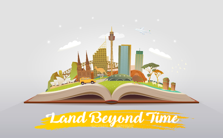 Travel to Australia. Open book with landmarks.
