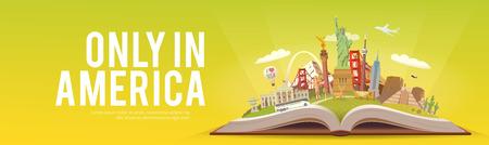 Viaje a América. Libro abierto con puntos de referencia. Foto de archivo - 86178614