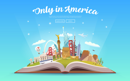 미국 여행. 랜드 마크와 함께 펼친 책입니다.