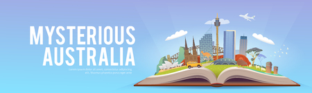 Travel to Australia. Open book with landmarks.