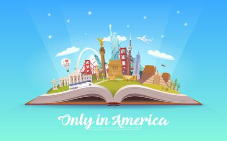 Viaje a América. Libro abierto con puntos de referencia. Foto de archivo - 86178617