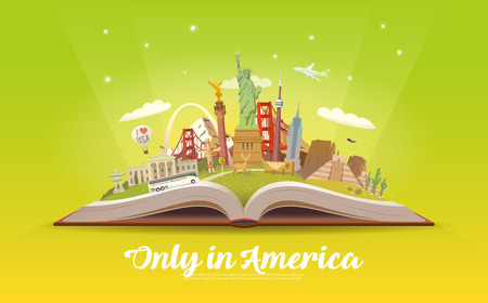 Travel to America. Open book with landmarks. 版權商用圖片 - 86178618
