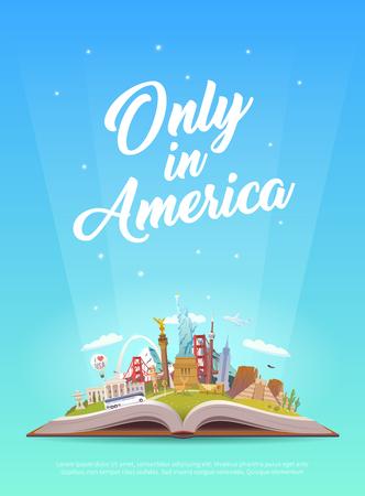 Viaje a América. Libro abierto con puntos de referencia. Foto de archivo - 86178620