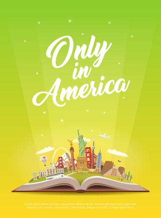 Viaje a América. Libro abierto con puntos de referencia. Foto de archivo - 86178621