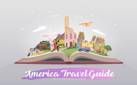 Reizen naar Zuid-Amerika. Vector illustratie. Stock Illustratie