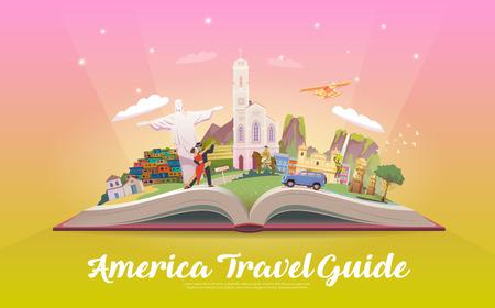 南アメリカへの旅行します。ベクトルの図。