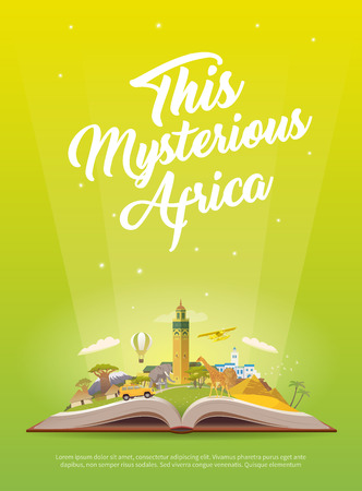 Travel to Africa. Open book with landmarks. Stock fotó - 86249688