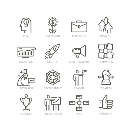 Set of startup icons.