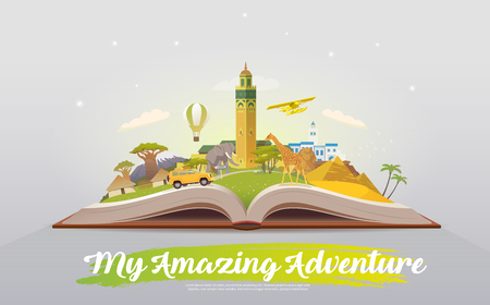 Travel to Africa. Open book with landmarks.