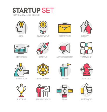 Icons set of startup. 向量圖像