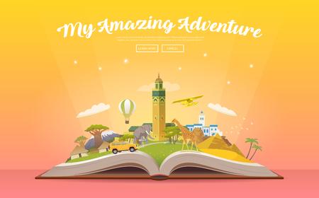 アフリカへの旅行します。ランドマークと開かれた本。