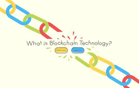 白い背景、ベクトル イラストの付いたチェーン アイコンです。Blockchain 技術コンセプト。  イラスト・ベクター素材