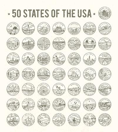 白い背景に、米国の 50 州はベクトル イラストです。