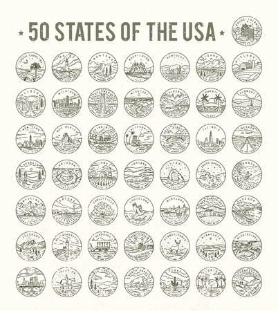 50 States of the USA on white background, vector illustration.