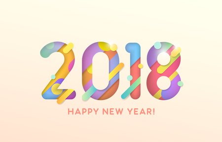 2018 Happy New Year on pink background, vector illustration.