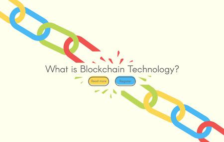Blockchain 白い背景、ベクター グラフィックの技術。