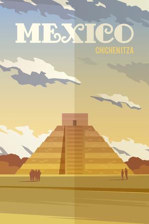 ベクトルレトロポスターメキシコ、Chichenitza のイラスト。
